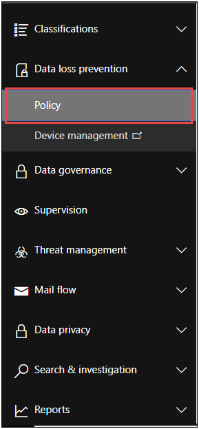 data loss prevention policy in Microsoft Office 365